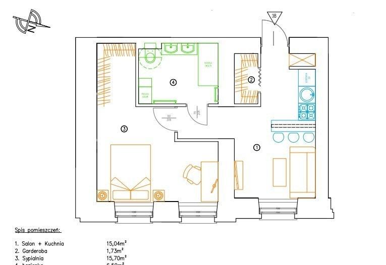 plan małe mieszkanie dla dwojga