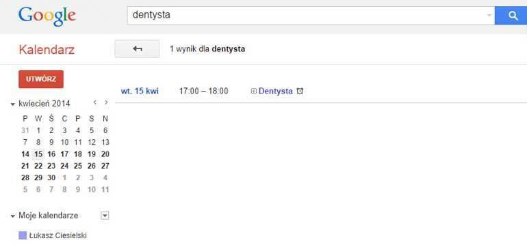 Wyniki wyszukiwania wkalendarzu Google