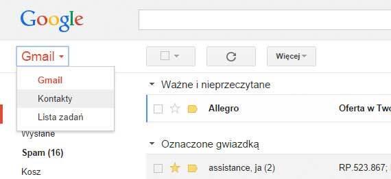Porządek wkontaktach Gmail