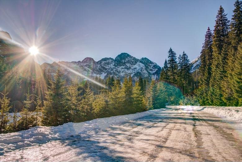 trasa namorskie oko zimą