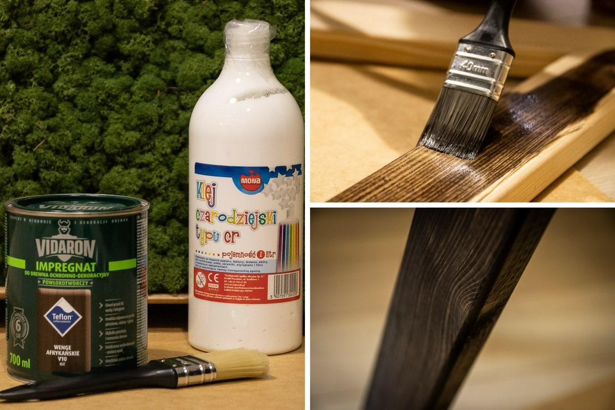 kolaż zdjęć przedstawiający proces powstawania obrazu zmchu imalowanie ramy produktem Vidaron